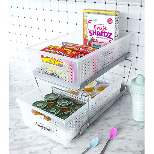 madesmart 2-Tier Organizer with Dividers - BATH COLLECTION Slide-out Baskets with Handles, Space Saving, Multi-purpose Storage & BPA-Fre, Large, Frost Grey