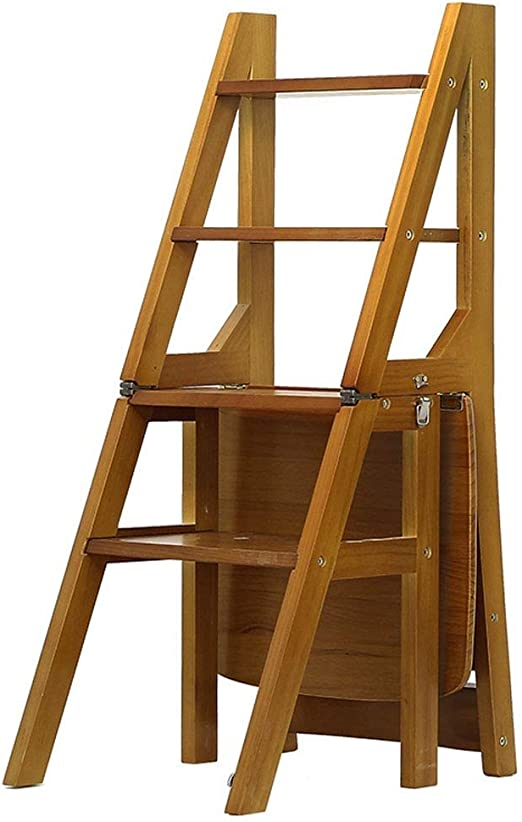 Sillas Plegables Taburete De Madera Maciza Escalera De Cuatro Pasos Silla Plegable para El Hogar Taburete De Doble Uso Escaleras Ascendentes Asiento Multifunción para Interiores ZHAOFENGE: Amazon.es: Hogar