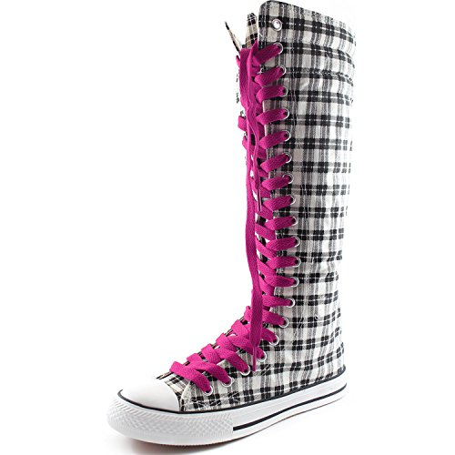 DailyShoes Womens Canvas Mid Calf Tall Boots Casual Sneaker Punk Flat, Cool Magenta Grey Wht Plaid Boots, Cool Magenta Lace