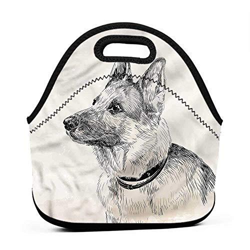 (Rugged Lunchbox German Shepherd,Monochrome Portrait,big bag for lunch)