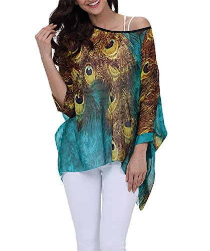 Vanbuy Women Summer Peacock Printed Shirt Batwing Sleeve Top Chiffon Poncho Casual Loose Tunic Blouse Prime Z91-4300 (Print Ostrich Bright)