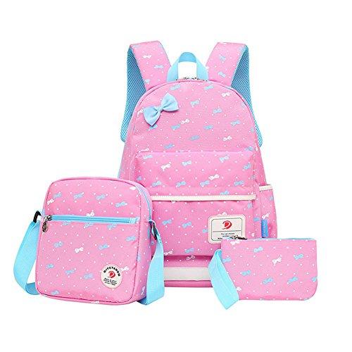MIUCOO Polka Dot 3pcs Kids Book Bag School Backpack Handbag Purse Girls Teen (D-Pink)