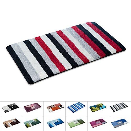 casa pura Bathroom Rugs | Non Slip Bath Mat & Shower Mat | Machine Washable | Multiple Color and Size Options | Black, Gray & Red Stripes | 28
