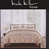 Nicole Miller Bedding Duvet Cover Set King 3 pc Set Cotton Paisley Medallion Floral Rust Sage Bohemian