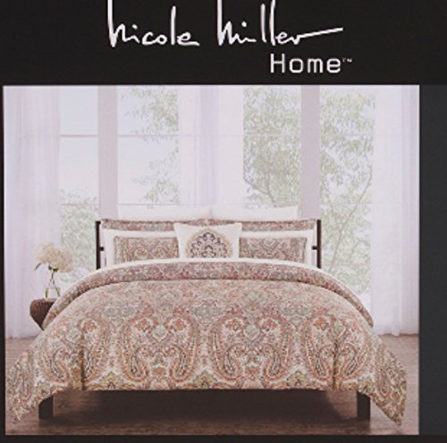 (Nicole Miller Bedding Duvet Cover Set King 3 pc Set Cotton Paisley Medallion Floral Rust Sage Bohemian)