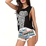 Software : Casual Tank Tops,Clearance! AgrinTol 1PC Women Sexy Casual Elephant Print Sleeveless O-neck Loose Tank Top Vest (XXL, Black)