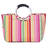 Brooke & Celine Large Ice Tote Cooler Bag Multi Use Shopping Bag Picnic Basket Stylish Looking Colorful Waterproof Eco-Friendly Material High Efficient Insulation Rainbow Stripes