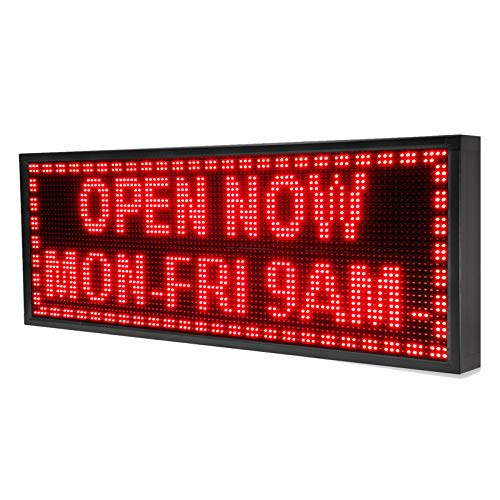 (Programmable Scrolling LED Sign for Store Windows and Semi-Outdoor Use APP Wi-Fi and USB Control (14 x 40inch, Red Color Only))