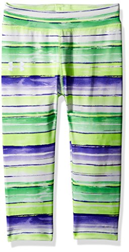 Lime Green Capri Pants (Under Armour Little Girls' Water Stripe Capri, Quirky Lime, 5)