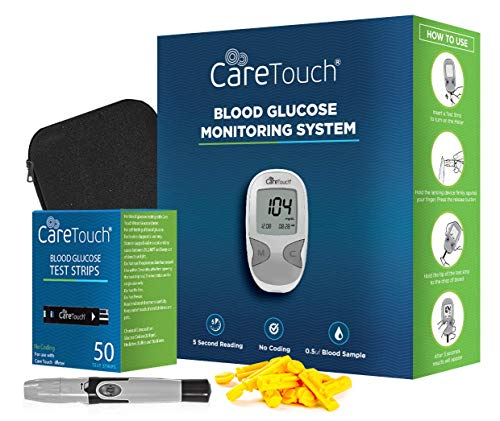 Care Touch Diabetes Testing Kit – Care Touch Blood Glucose Meter, 50 Blood Test Strips, 1 Lancing Device, 30 Gauge Lancets-100 Count from Care Touch