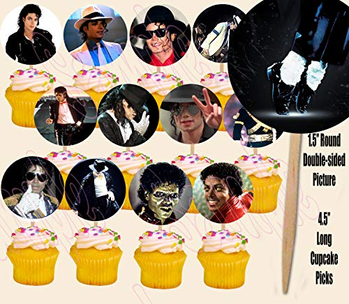 Michael Jackson Double-Sided Cupcake Picks Cake Toppers -12 -