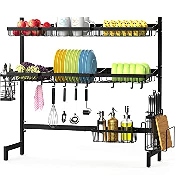 Image of Home and Kitchen Over the Sink Dish Drying Rack, F-color 3 Tier Large Stainless Steel Dish Drying Rack for Kitchen Counter, Dish Drainer Shelf with Utensils Holder, Black