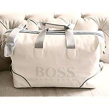 Hugo Boss Men's White Weekender Weekend Duffle Duffel Bag Large