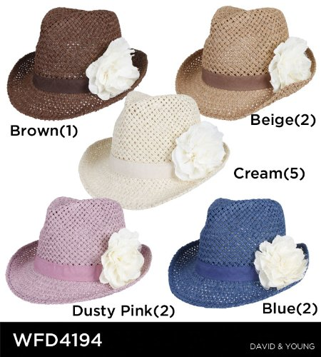 David   Young Fedora Open Weave with Flower (Cream) at Amazon ... 1320f4e0e28