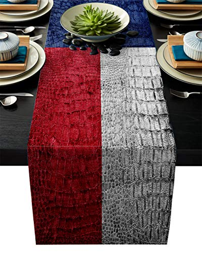 Edwiinsa Western Cotton Linen Table Runner Rectangle Plate Mat Outdoor Rug Runner for Coffee Dining Banquet Home Decor, Texas State Flag Painted on Crocodile Snake Skin Patriotic Emblem, 13 x 90 inch