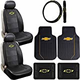 7pc Chevrolet Chevy Logo Elite Style Floor Mats Airbag Ready Sideless Seat Covers Steering Wheel Cover Complete Combo Set