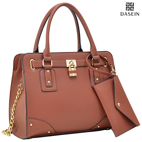 Top Handle Satchel Handbag Zip Purse Belted Padlock Vegan Bag w/ Chain Shoulder Strap & Bonus Phone Case (Dual Use Handbag)