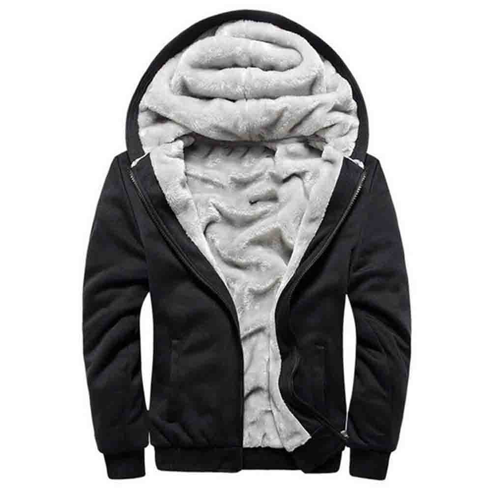 ASALI Men's Pullover Winter Jackets Hooed Fleece Hoodies Wool Warm Thick Coats Black M