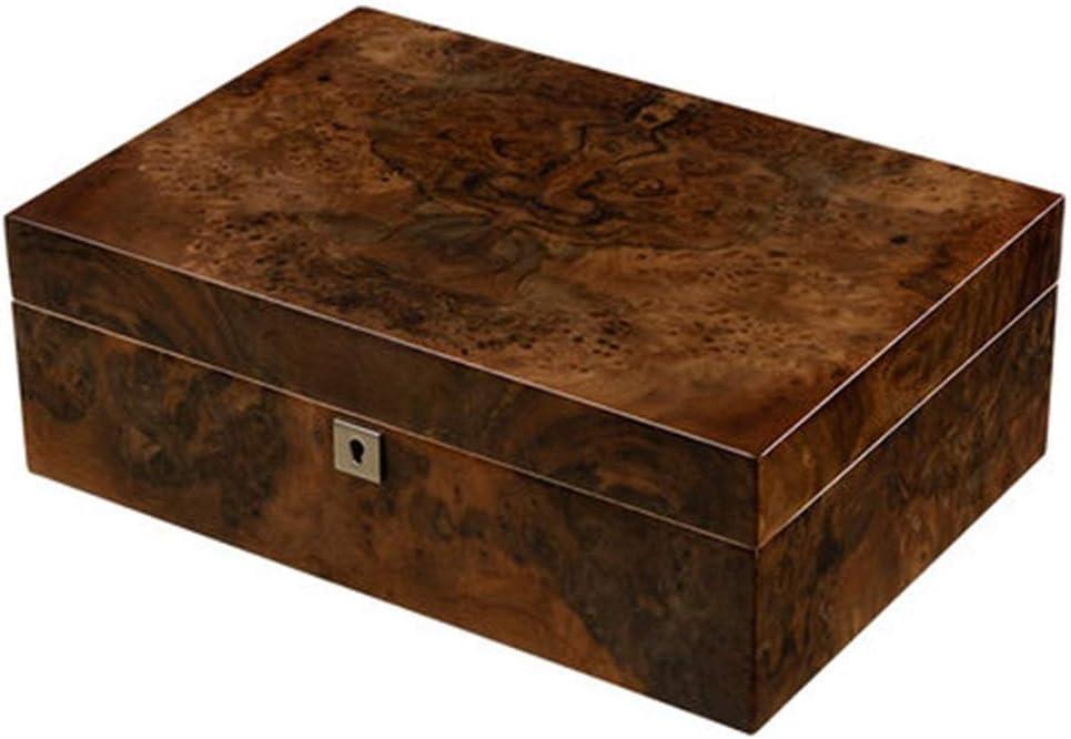 シガレットケース シガー保湿キャビネットシガーボックスシダーウッドピアノ塗装用保湿ボックストラベルキャリングケース加湿器付き湿度計 (Color : Brown, Size : 32*23*11cm)