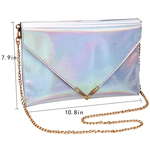 ZLMBAGUS Shoulder Clutch Crossbody PVC Silver Handbag Girl Envelope Bag Women Hologram Chain Laser Purse rx1rvA