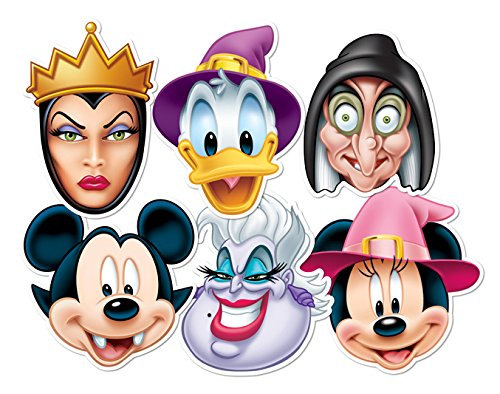 Star Cutouts SMP68 6 Pack Witch & Wicked Official Mickey Vampire/Minnie Donald Wizard/Ursula Witch/Wicked Queen Disney Halloween Party Mask, Brown, One Size]()