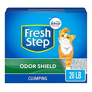 Fresh Step Cat Litter Odor Shield Scoopable, Scented, 20 Pound Carton (30393),Gray