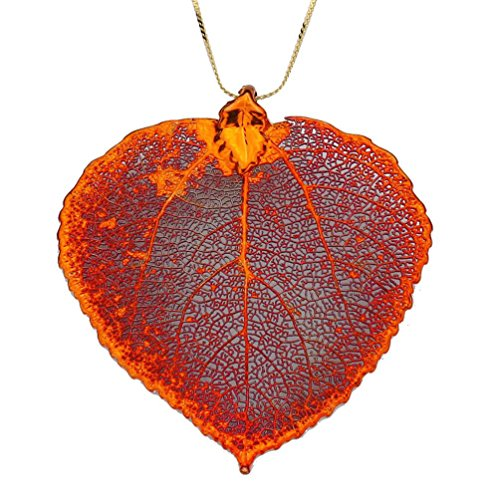 - Irridescent Copper-Plated Aspen Leaf Pendant Sterling Silver Serpentine Chain Necklace, 18