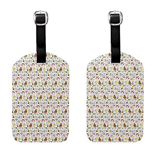 Unique Luggage Tag Jazz Music,Collection of Musical Instruments Big Orchestra Drums Piano Guitar Accordion,Multicolor for men and women