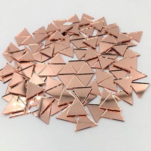 12 mm Specchio piccolo a forma di mosaico triangolare 120 pezzi colore oro rosa