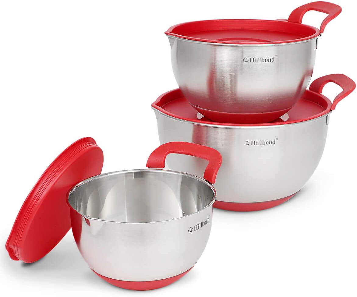 5QT 3QT Hillbond Mixing Bowls Set: Stainless Steel Nesting Bowls with Pour Spout Black Handle and Lid for Cooking Baking Set of 3-1.5QT
