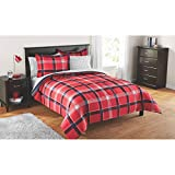 Mainstays Kids Red Plaid Bed in a Bag Complete Bedding Set 7PC Full