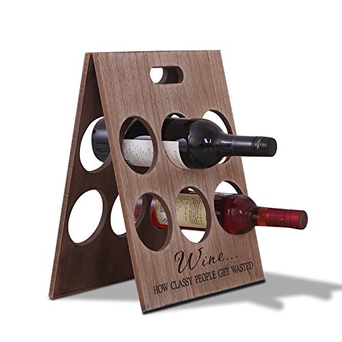 Home-organizer Tech Foldable Wood Wine Glass Rack 6 Bottle Holder (Kendt Wall Mount Wine Rack)