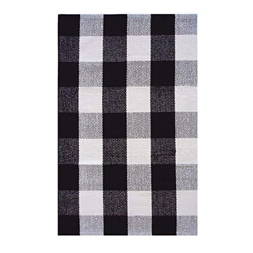 Ukeler Retro Farmhouse Tartan Checkered Plaid Rugs Door Mat - 100% Cotton - Black/White Hand-Woven Floor Rugs Washable Rag Throw Rugs for Kitchen/Bathroom/Entry Way/Laundry Room, 23.6''x35.4'' -