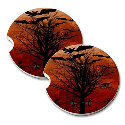 Halloween Blood Moon - Car Cup Holder Natural Stone Drink Coaster Set