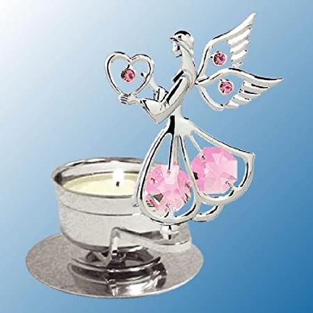 Chrome Plated Angel w/ Heart Tea Light Candle Holder - Pink - Swarovski Crystal
