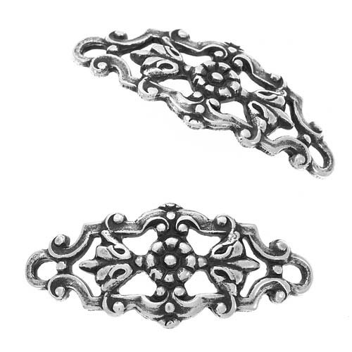 Beadaholique Antiqued Silver Plated Filigree Flower and Leaves Curved Connector Links 22mm (2)