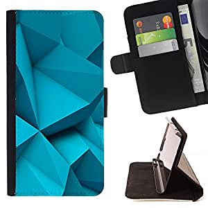 - Light Blue Polygon Plastic Art - Estilo PU billetera de cuero del soporte del tir???¡¯???3n [solapa de cierre] Cubierta- For Apple Iphone 4 / 4S ( Devil Case )
