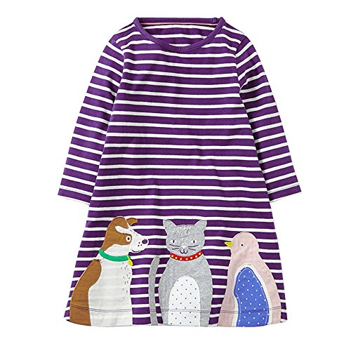 HUAER& Baby Girl's Cotton Long Sleeved Dress (15-18Months(height70-80cm/26-30inch), Purple Stripes)