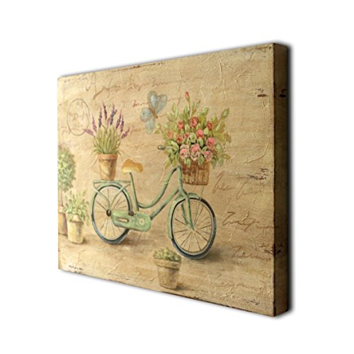 (CVHOMEDECO. Rustic Retro Hand Painted Wooden Frame Wall Hanging 3D Painting Decoration Art, Bicycle Flower Butterfly Design, 15-3/4