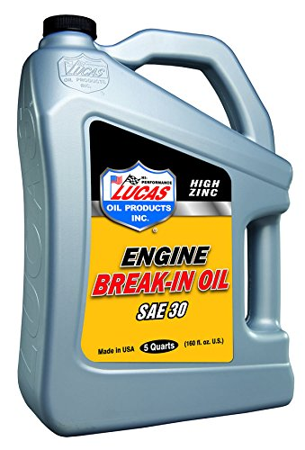 5 Quarts Lucas Oil 10631 SAE 30 High Zinc Engine Break-In Oils; Requires no moly supplement and no additional additives & Compatible with methanol and high octane race fuel