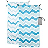Crisbrella Double Sided Microfiber Beach Towel - Oversized 31'' x 63'', Ultra Soft, Super Absorbent, Quick Dry For Travel-Beach, Lake, Pool, Outdoor Comfort Compact And Portable Beach Blanket