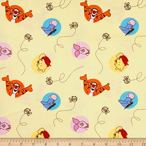 Springs Creative Products Disney Nursery Cotton Flannel Pooh Bee Cuddly Dot Toss Yellow, Fabric by the Yard (Disney Flannel Fabric)
