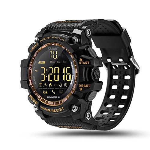 ROADTEC Smart Watch Fitness Tracker,Bluetooth 4.0 Digital Sport Smart Watches 5ATM IP67 Waterproof Support Call SMS Notification Pedometer Remote Camera for IOS Android (Gold)