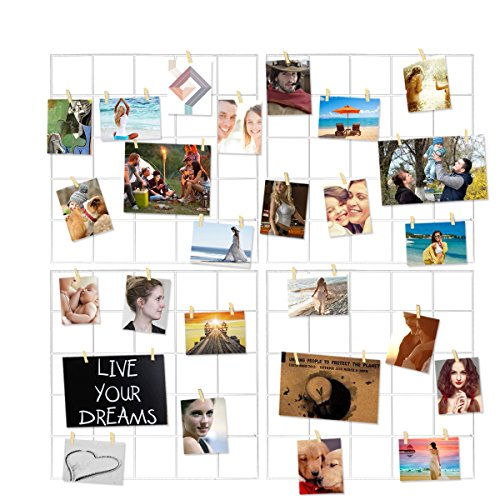 4 Pcs Multifunction Metal Mesh Wire Grid Panel With 30 Clips,Wall Decor/Photo Wall/Art Display & Organizer(White) (Picture Covered Fabric Frame)