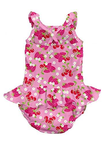 i play. Baby Girls' Classics Ultimate Swim Diaper Ruffle Tanksuit, Pink, Small/6 Months