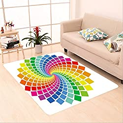 Sophiehome skid Slip rubber back antibacterial  Area Rug circular pattern on white 20369497 Home Decorative