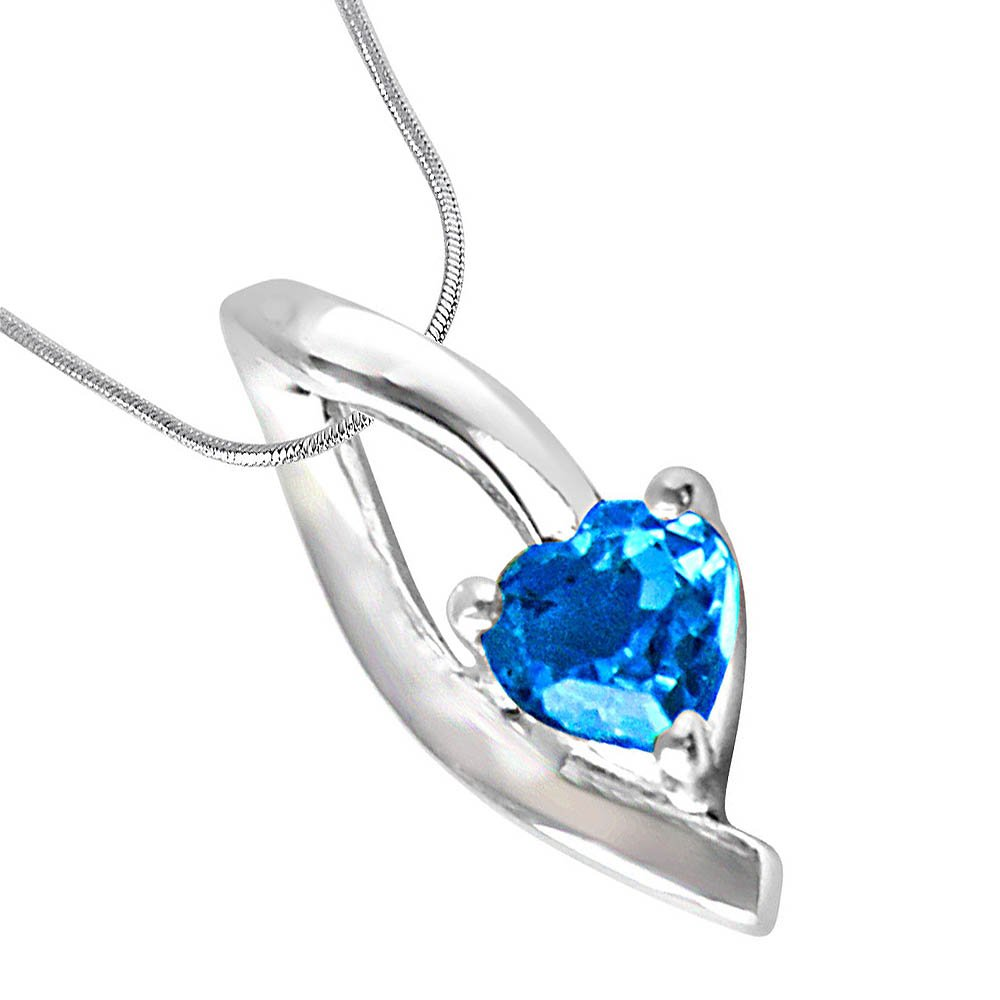 Surat Diamonds Heart Shaped Blue Topaz & Sterling Silver Pendant with Silver Finished Chain for Girls (SDP299)