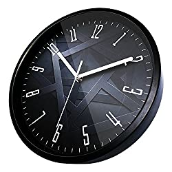 Kinger_Home 12-Inch Large Fashion Concise Design Home Kitchen/Living Room/ Bedroom Round Ultra Mute Quartz Movement Metal Frame Wall Clock(Clock L) (Black)
