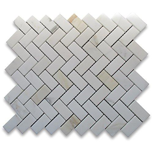 Calacatta Gold Italian Calcutta Marble Herringbone Mosaic Tile 1 x 2 Honed