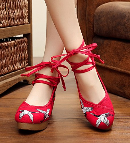Avacostume Mujeres Embroidery Rubber Sole Strappy Wedges Girls Party Zapatos Rojo